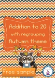 Addition to 20 with regrouping - Autumn theme free