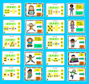 Addition to 5 Fact Fluency for Kindergarten:  PowerPoint Game: 20 Facts