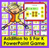 Addition to 5 Fact Fluency Kindergarten PowerPoint Game Distance Learning