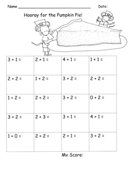 Addition to 5 Facts Drills Kindergarten Common Core Thanksgiving Theme K.OA.5