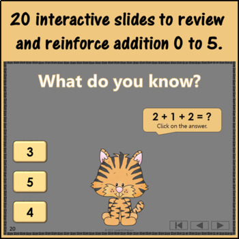 Interactive Math Game Addition to 5 {Dancing Tiger}