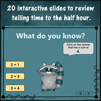 Addition to 5 Interactive Math Game {Dancing Raccoon}