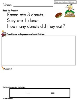 Addition to 5 Math Word Problems ** Set One ** Read,Draw,Answer It!