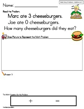 Addition to 5 Math Word Problems ** Set One ** Read,Draw,A