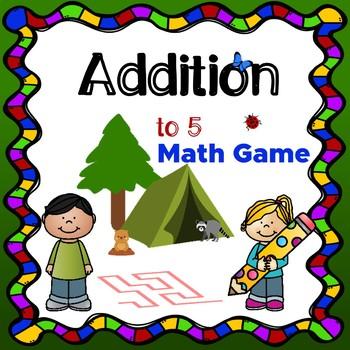 Addition to 5 Math game (maze) NO PREP!