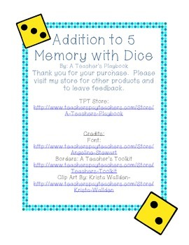 Addition to 5 Memory with Dice Pictures