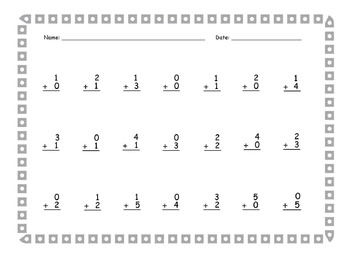 """""""KinderMath"""" Addition to 5 Practice Pages (30 p.) / CCSS - Aligned"""