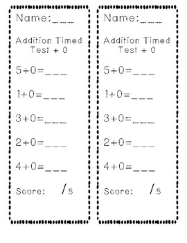 Addition to 5 Timed Test