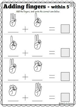 Addition to 5 and Pairs to 5 No Prep Worksheets by Made ...