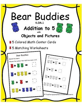 Addition to 5 with Objects and Pictures:  Kindergarten Math Center w/ Worksheets