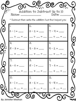 Addition to Subtract up to 10
