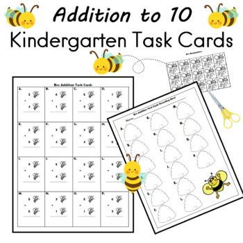 Addition to 10 Task Cards Bee Themed