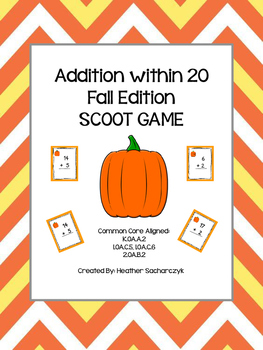 Addition up to 20 SCOOT Game - Grades K, 1, and 2 Common Core Aligned