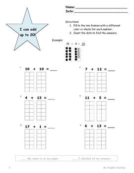Ten Frames Addition up to 20 - Worksheet Bundle II