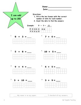 Ten Frames Addition up to 20 - Worksheet Bundle