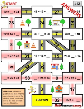 "Addition Maze ""Fun Worksheets"" - up to the number 39"