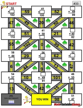 """Addition Maze """"Fun Worksheets"""" - up to the number 59"""