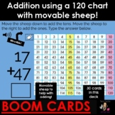 Addition using 120 chart with movable sheep to help with counting