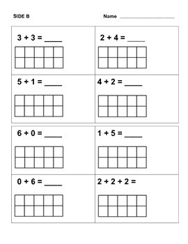 Addition using a ten frame for Kindergarten