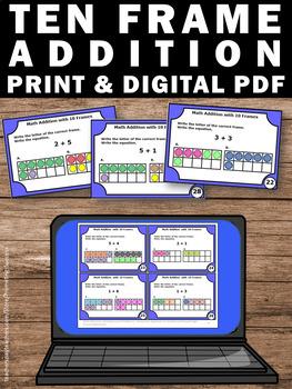 Ten Frame Addition Task Cards, Kindergarten Math Review Games, Special Education