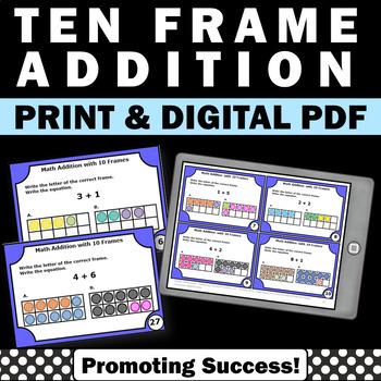 Ten Frame Addition Task Cards, Kindergarten Math Review, Special Education Math
