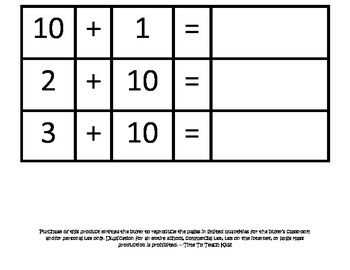 Addition with 10 using Manipulatives Math Center- Digital Download