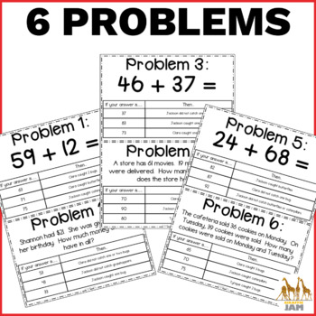 FREEBIE Addition within 100 Math Problem Solving Mystery with Answer Key No Prep