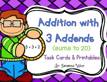 Addition with 3 Addends {Task Cards}