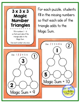 Addition Puzzles - Magic Squares and Triangles