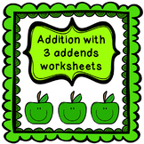 Addition with 3 addends worksheet - within 20 {CCSS aligned}