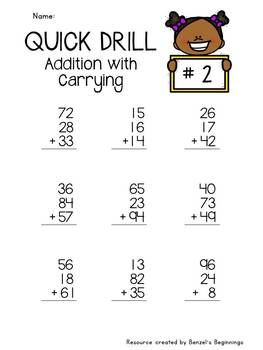 Addition with Carrying Quick Drills