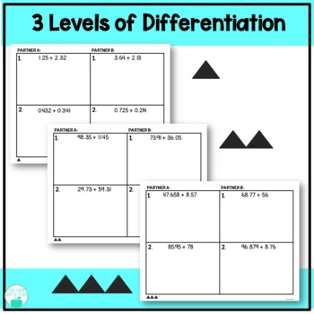 Addition with Decimals - Differentiated Partner Practice