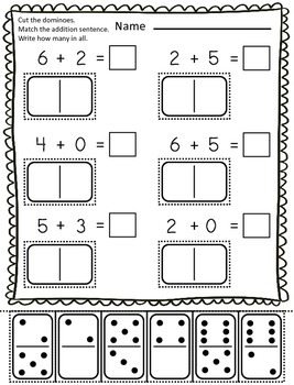 addition with dominoes cut paste 10 worksheets by teach me visually. Black Bedroom Furniture Sets. Home Design Ideas