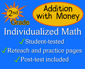 Addition with Money, 2nd grade - Individualized Math - worksheets