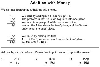 Addition with Money, 2nd grade - worksheets - Individualized Math