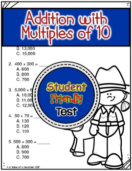 Addition with Multiples of 10 Test