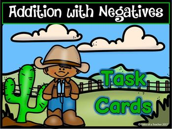 Addition with Negative Integers Task Cards