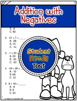 Addition with Negatives Test