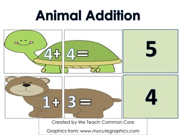 Addition with Numbers 1-10 Animal Themed Puzzle Math Center Activity