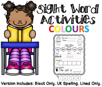 NO PREP - Sight Word Activity Worksheet - Colours (SAMPLE - BLACK ONLY)