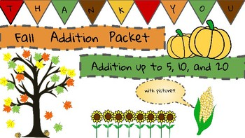 Addition with Pictures! Fall Themed!