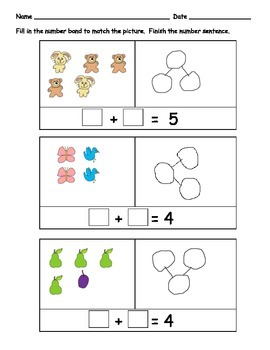 Addition with Pictures and Number Bonds: 9 pages