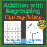 Addition with Regrouping 2 and 3 Digit Numbers- Mystery Picture