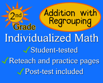 Addition with Regrouping, 2nd grade - Individualized Math - worksheets