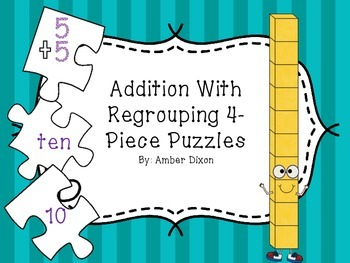 Addition with Regrouping 4 Piece Puzzles