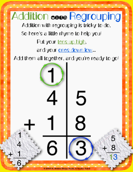 Addition With Regrouping Posters Teaching Resources | Teachers Pay ...