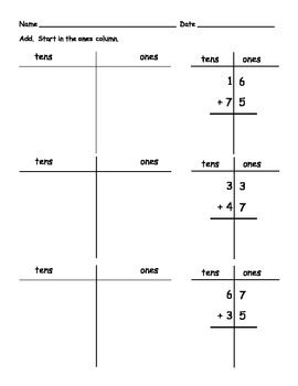 Addition with Regrouping Graphic Organizer and Worksheet