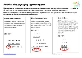 Addition with Regrouping Lesson for Interactive Math Notebooks