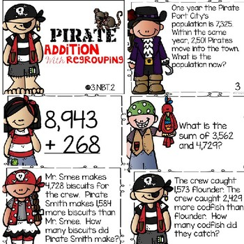Addition with Regrouping Pirate Task Cards Scoot Game