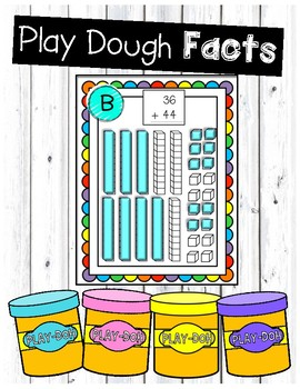 Addition with Regrouping Play Dough Task Cards